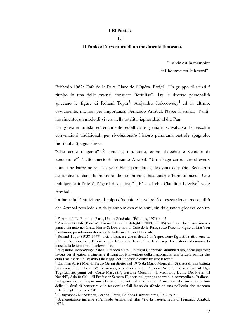 Anteprima della tesi: Fernando Arrabal y su ''Pánico'', Pagina 1