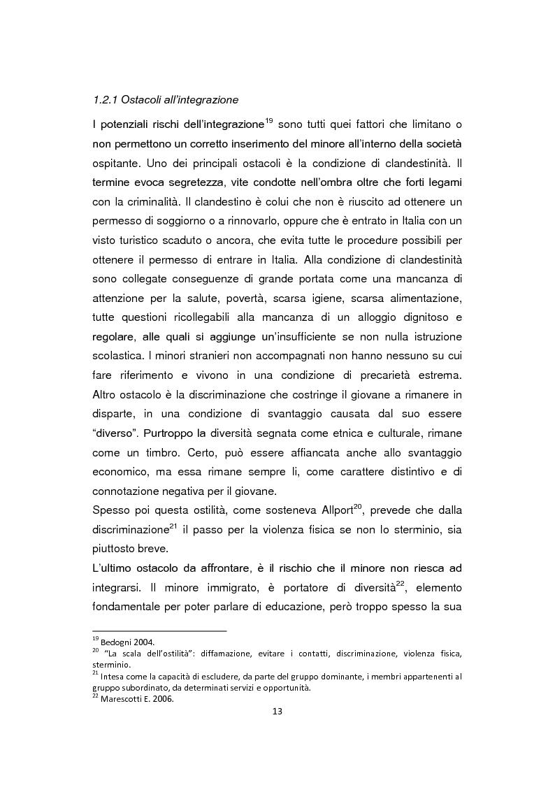 Estratto dalla tesi: ''Pane e Coraggio'' - Condizioni e vissuti di minori stranieri non accompagnati