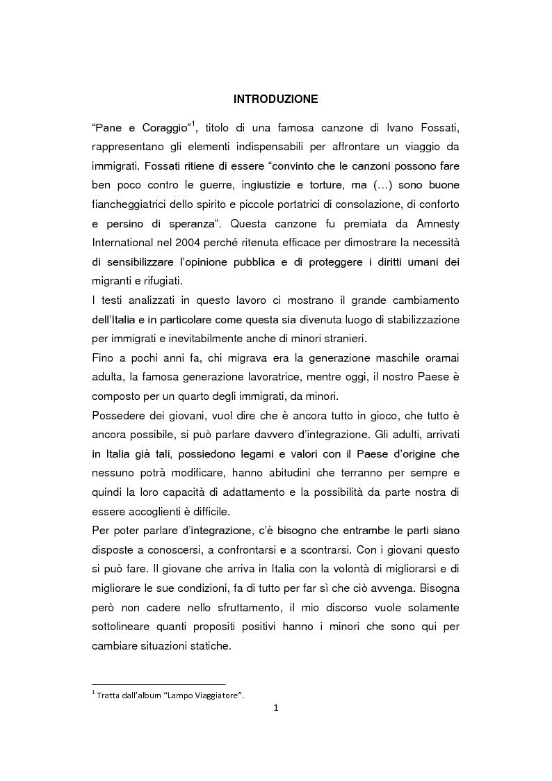 Anteprima della tesi: ''Pane e Coraggio'' - Condizioni e vissuti di minori stranieri non accompagnati, Pagina 1