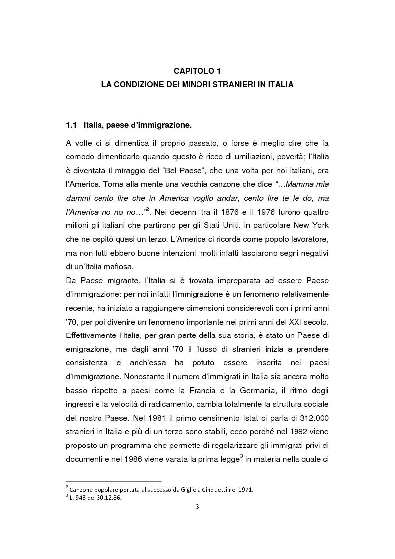 Anteprima della tesi: ''Pane e Coraggio'' - Condizioni e vissuti di minori stranieri non accompagnati, Pagina 3
