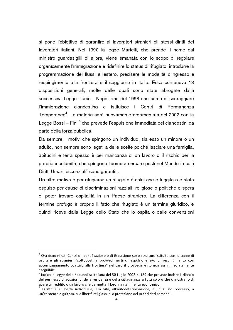 Anteprima della tesi: ''Pane e Coraggio'' - Condizioni e vissuti di minori stranieri non accompagnati, Pagina 4