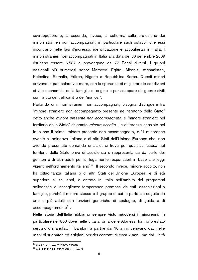 Anteprima della tesi: ''Pane e Coraggio'' - Condizioni e vissuti di minori stranieri non accompagnati, Pagina 6