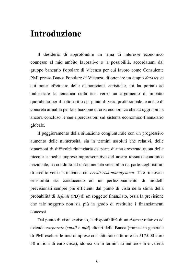 Anteprima della tesi: Tecniche statistiche algoritmiche per il monitoraggio del rischio di credito e l'individuazione dei fattori di rischio di default aziendale, Pagina 1