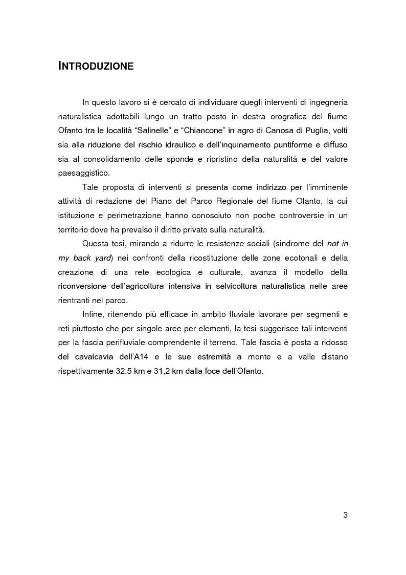 Anteprima della tesi: Interventi di ingegneria naturalistica per la riqualificazione ambientale di un tratto del fiume Ofanto in agro di Canosa Di Puglia, Pagina 1