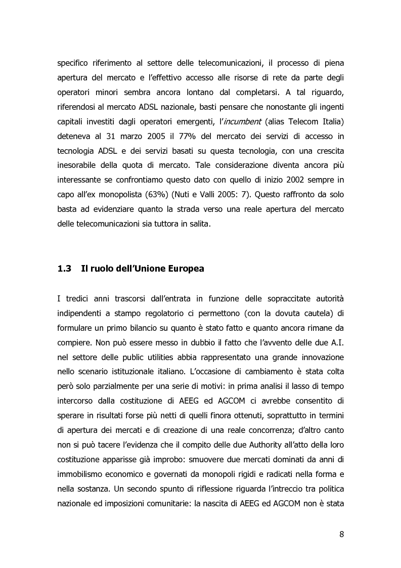 Anteprima della tesi: Garanzia, vigilanza e controllo: il ruolo dell'AGCOM nel mercato delle telecomunicazioni mobili italiane, Pagina 5