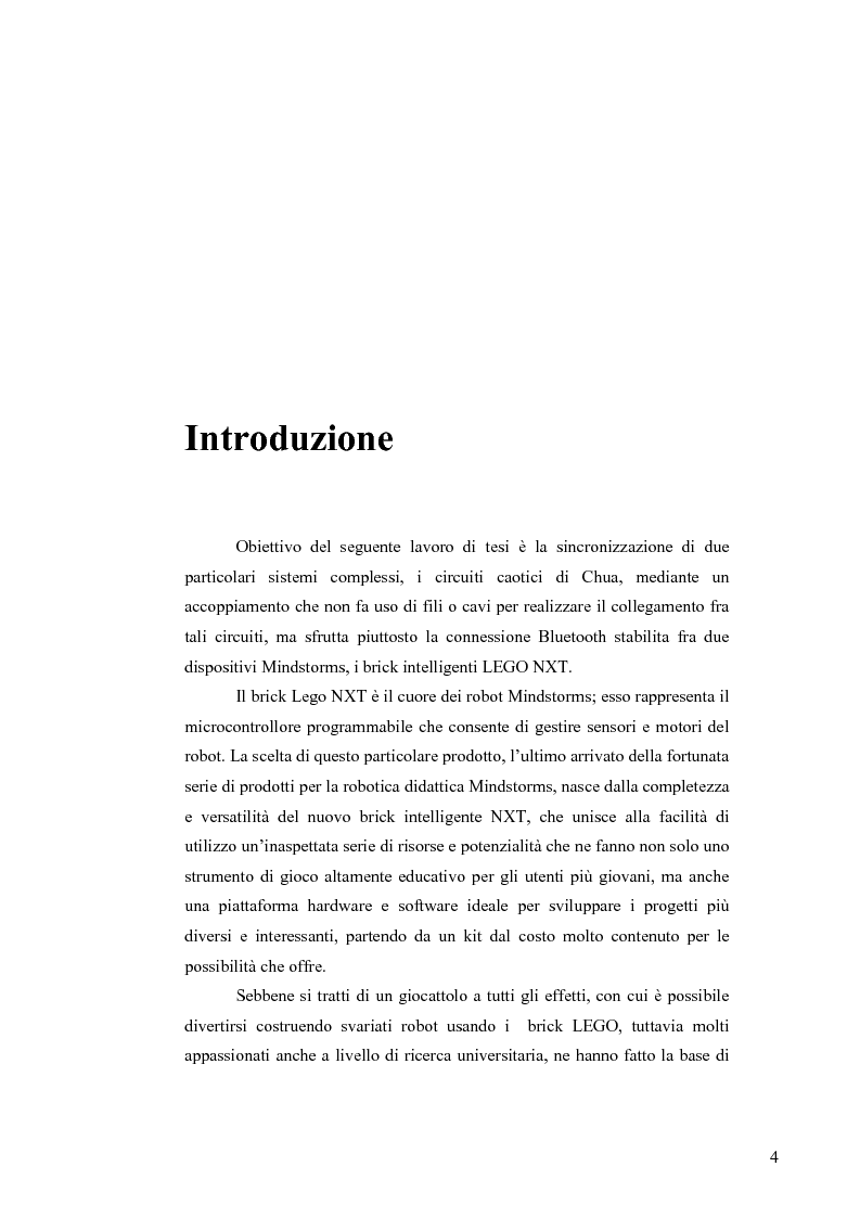 Anteprima della tesi: Sincronizzazione wireless di circuiti caotici mediante tecnologia Bluetooth su robot Mindstorms, Pagina 1