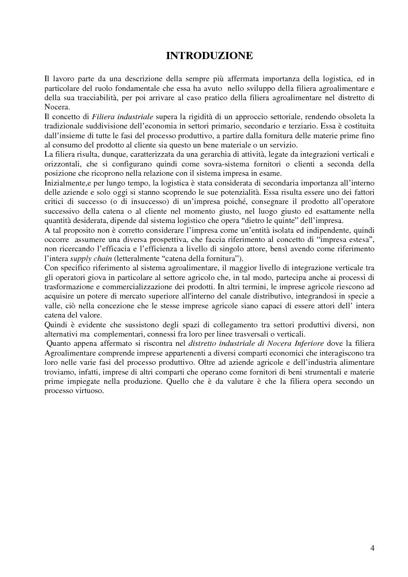 Anteprima della tesi: La filiera agroalimentare nel distretto dell'Agro Nocerino Sarnese, Pagina 1