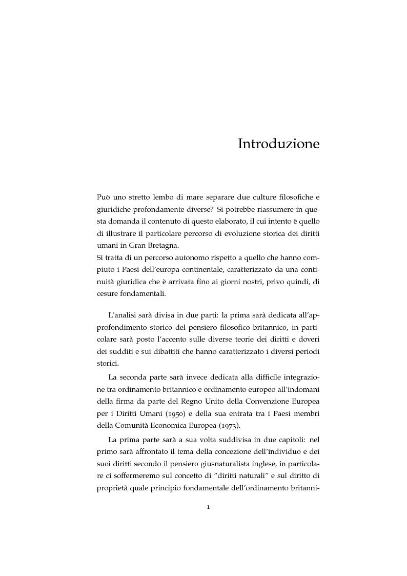 Anteprima della tesi: Storia ed evoluzione dei diritti fondamentali in Gran Bretagna: dal suddito inglese al cittadino europeo, Pagina 1