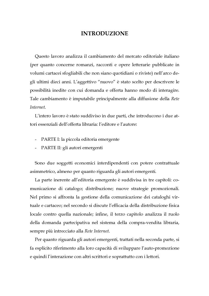 Anteprima della tesi: Il nuovo mercato editoriale: piccole case editrici, scrittori emergenti e domanda partecipativa, Pagina 1