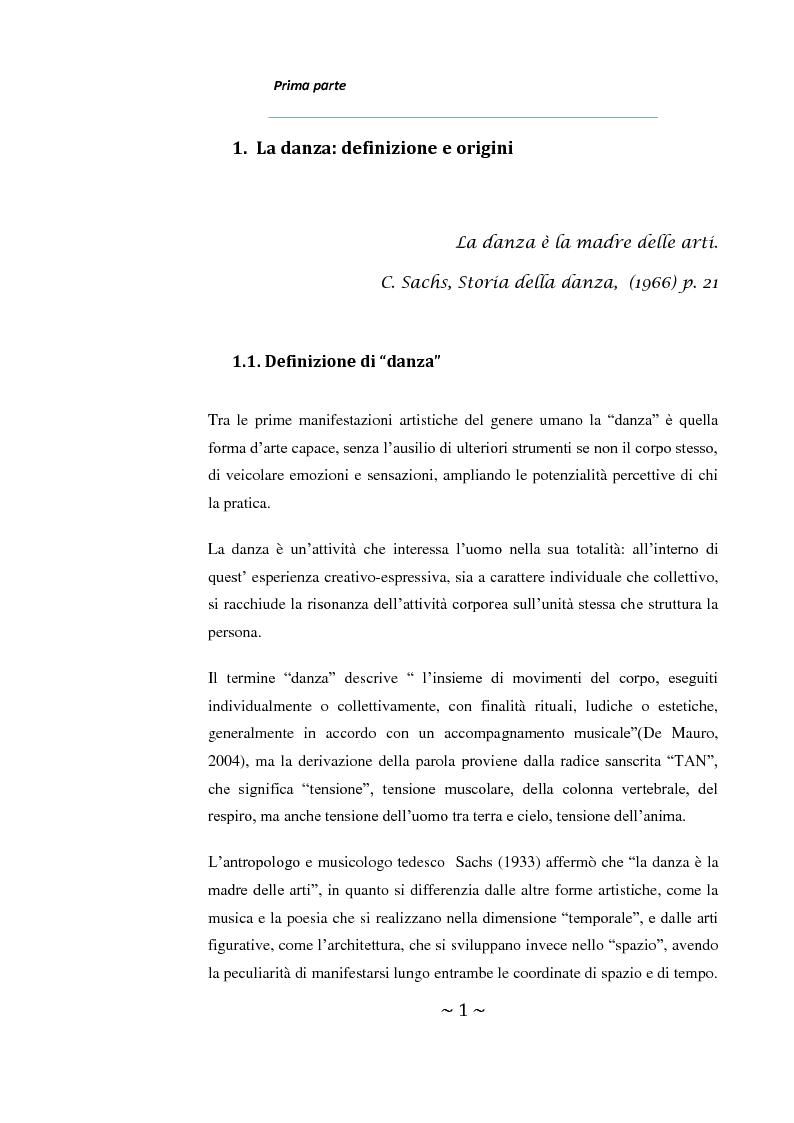 Anteprima della tesi: Come danza la psicosi: l'intervento danzaterapeutico nel trattamento delle psicosi, Pagina 1