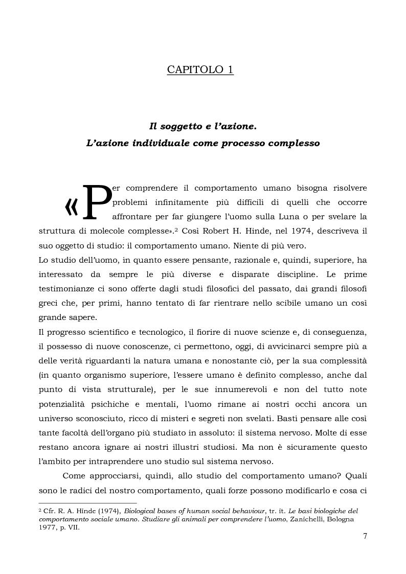 Anteprima della tesi: Il comportamento individuale tra normalità e patologia. L'agire sociale come oggetto di studio complesso., Pagina 5