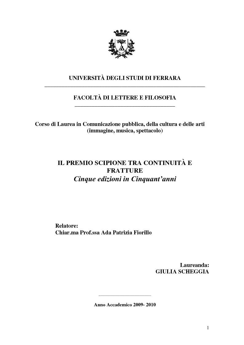 Anteprima della tesi: Il Premio Scipione tra continuità e fratture. Cinque edizioni in cinquant'anni., Pagina 1