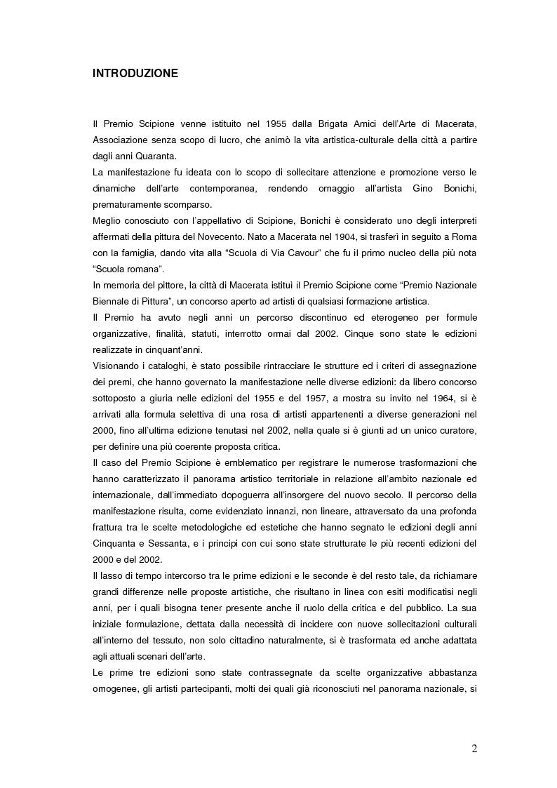 Anteprima della tesi: Il Premio Scipione tra continuità e fratture. Cinque edizioni in cinquant'anni., Pagina 2