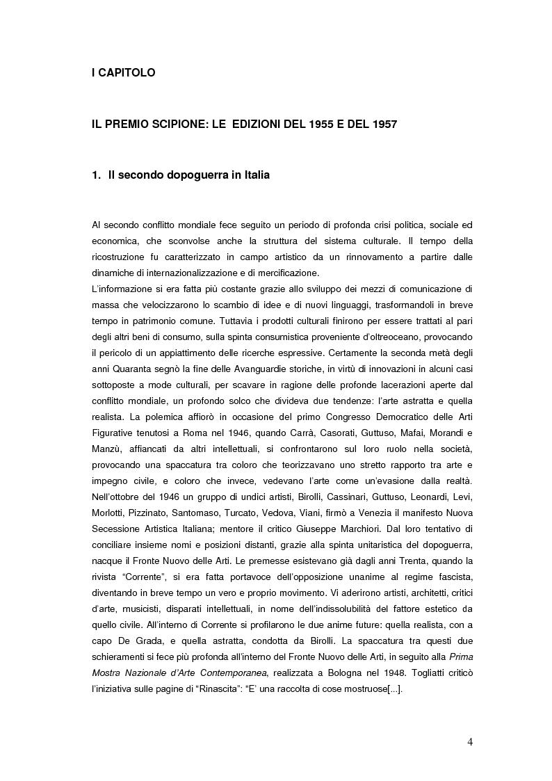 Anteprima della tesi: Il Premio Scipione tra continuità e fratture. Cinque edizioni in cinquant'anni., Pagina 4