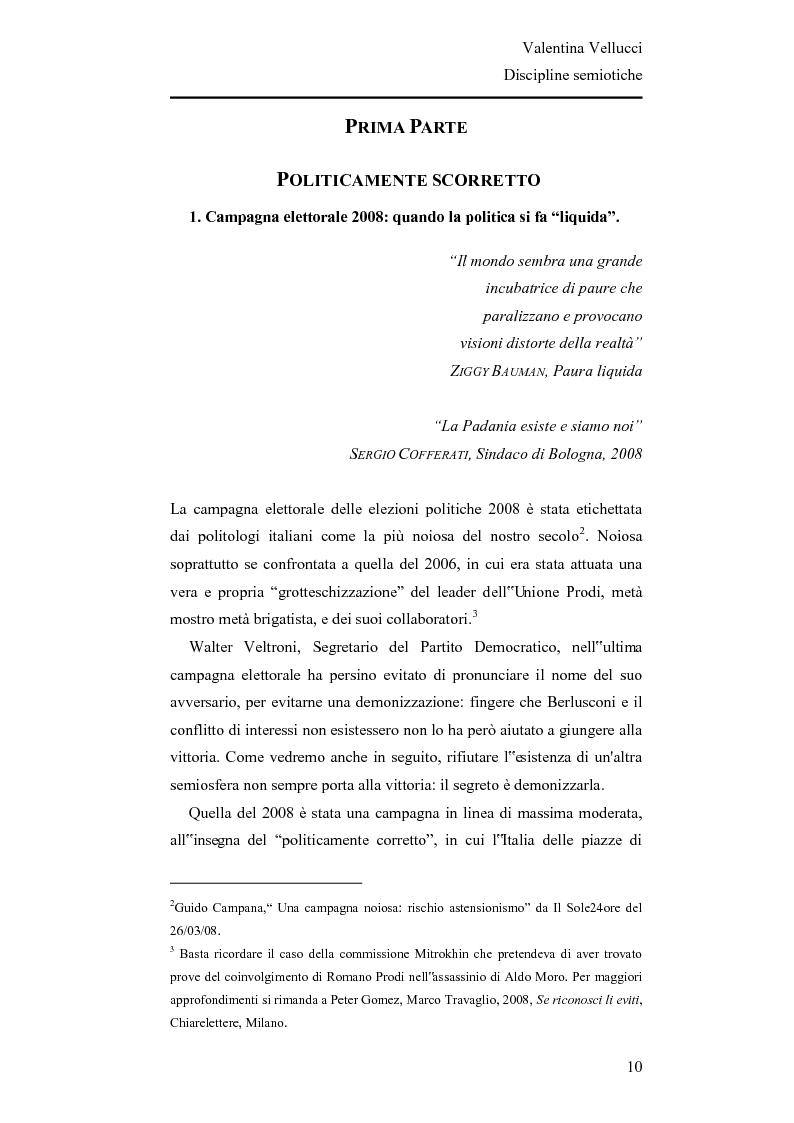 Anteprima della tesi: La Lega Nord fra fascio e martello - Analisi semiotica del Carroccio dalle politiche 2008 a oggi, Pagina 1