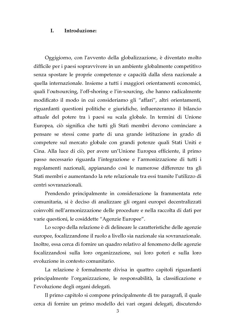 Anteprima della tesi: Le Agenzie Europee: analisi delle caratteristiche e evoluzione in ambito comunitario, Pagina 1
