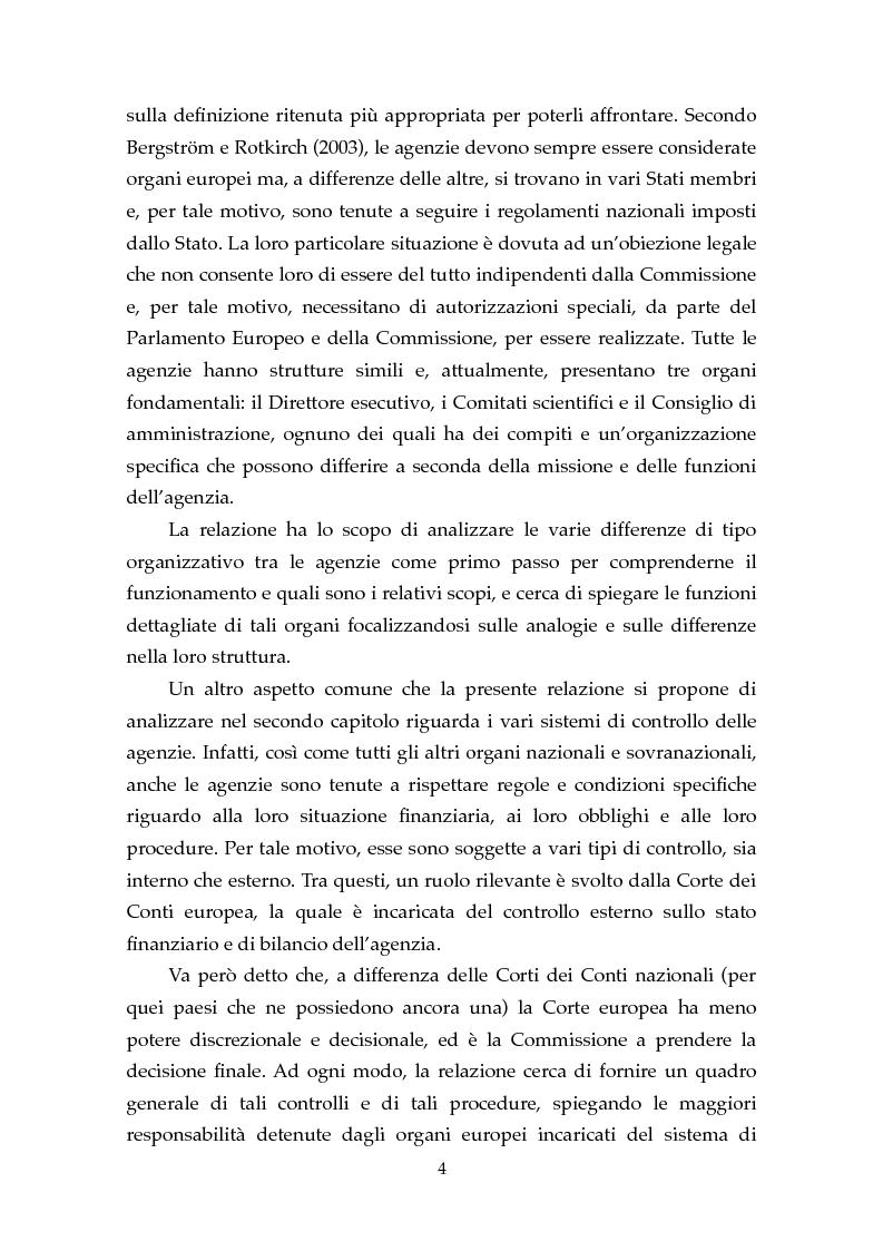 Anteprima della tesi: Le Agenzie Europee: analisi delle caratteristiche e evoluzione in ambito comunitario, Pagina 2