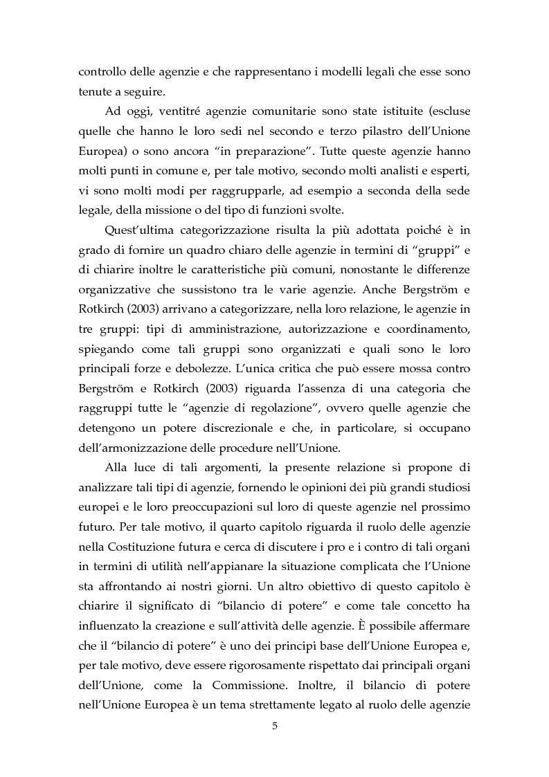 Anteprima della tesi: Le Agenzie Europee: analisi delle caratteristiche e evoluzione in ambito comunitario, Pagina 3