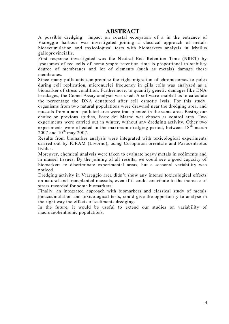 Anteprima della tesi: Valutazione degli effetti biologici della movimentazione di sabbie marine mediante l'utilizzo di biomarker cellulari in Mytilus galloprovincialis, Pagina 2
