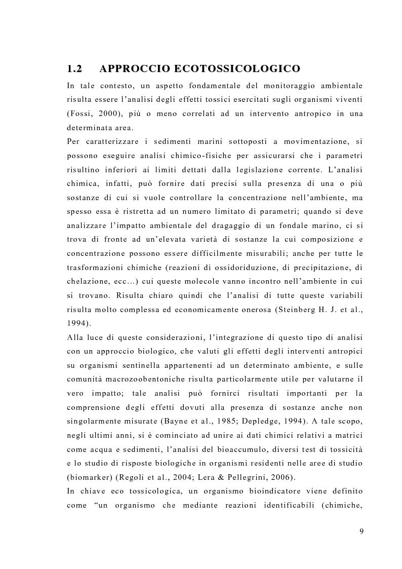 Anteprima della tesi: Valutazione degli effetti biologici della movimentazione di sabbie marine mediante l'utilizzo di biomarker cellulari in Mytilus galloprovincialis, Pagina 7