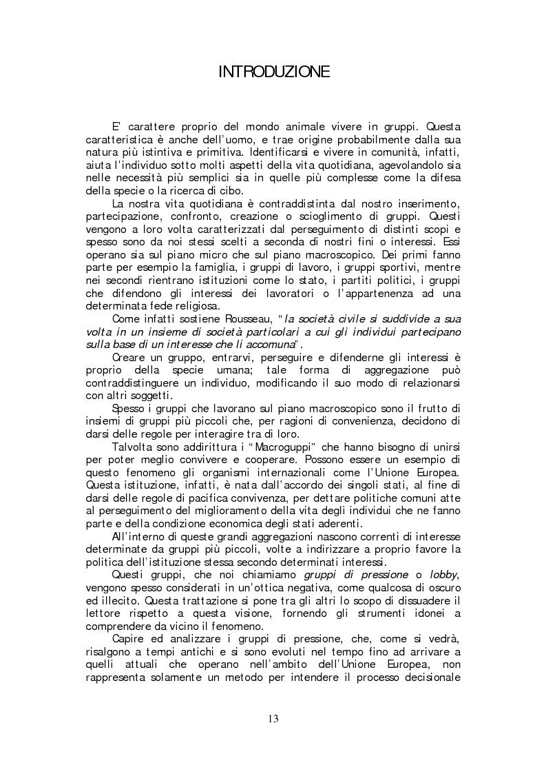 Anteprima della tesi: Lobbying strumento di democrazia partecipativa. Rappresentanza e tutela di interessi particolari nel panorama istituzionale europeo., Pagina 1