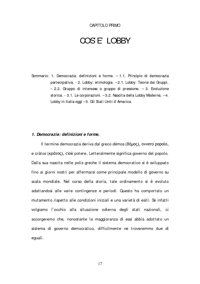 Anteprima della tesi: Lobbying strumento di democrazia partecipativa. Rappresentanza e tutela di interessi particolari nel panorama istituzionale europeo., Pagina 5