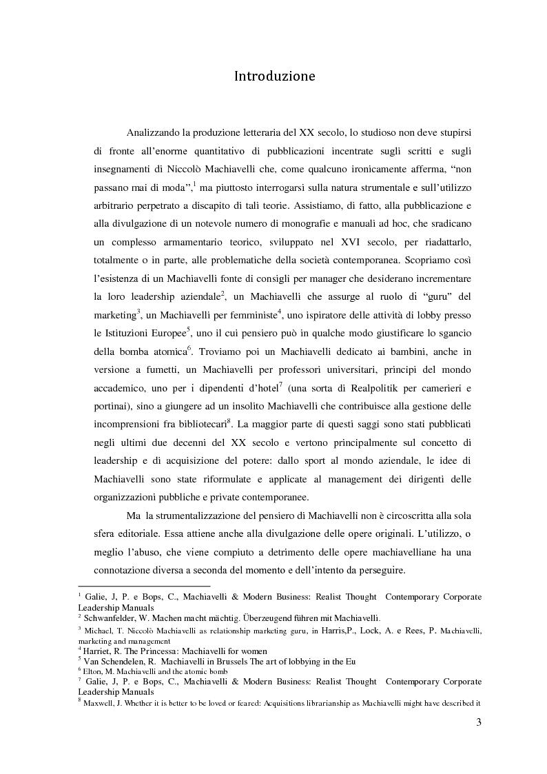Anteprima della tesi: Machiavelli, Principe del conflitto: analisi sulle moderne strumentalizzazioni del pensiero machiavelliano, Pagina 1