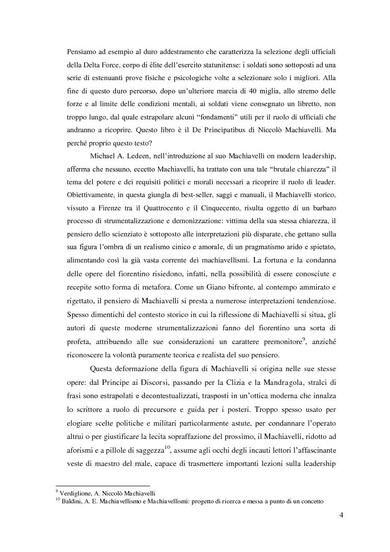 Anteprima della tesi: Machiavelli, Principe del conflitto: analisi sulle moderne strumentalizzazioni del pensiero machiavelliano, Pagina 2