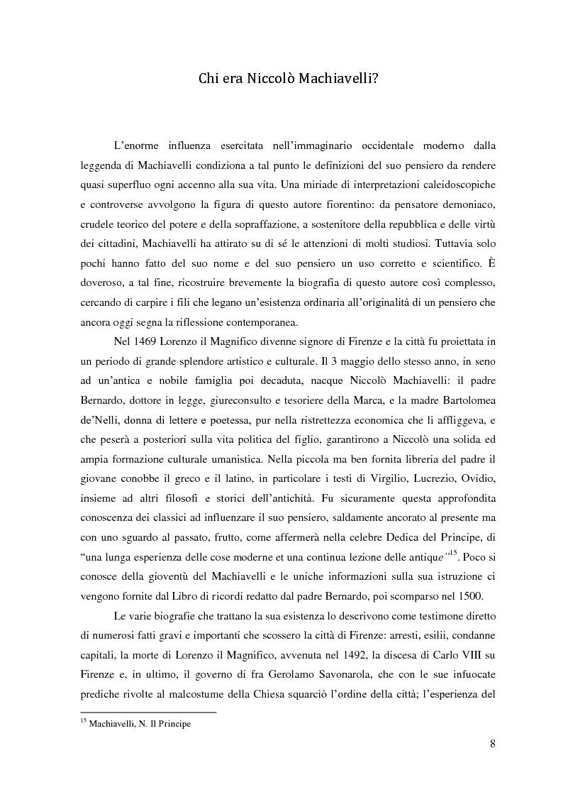 Anteprima della tesi: Machiavelli, Principe del conflitto: analisi sulle moderne strumentalizzazioni del pensiero machiavelliano, Pagina 6