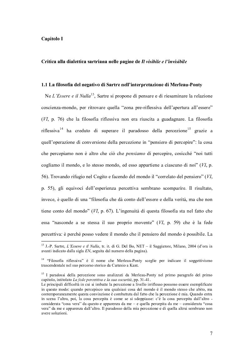 Anteprima della tesi: La negazione in Maurice Merleau-Ponty. Per una nuova ontologia., Pagina 1