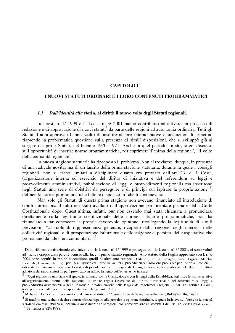 Anteprima della tesi: I diritti regionali nei nuovi statuti delle regioni ordinarie e nella giurisprudenza costituzionale, Pagina 1