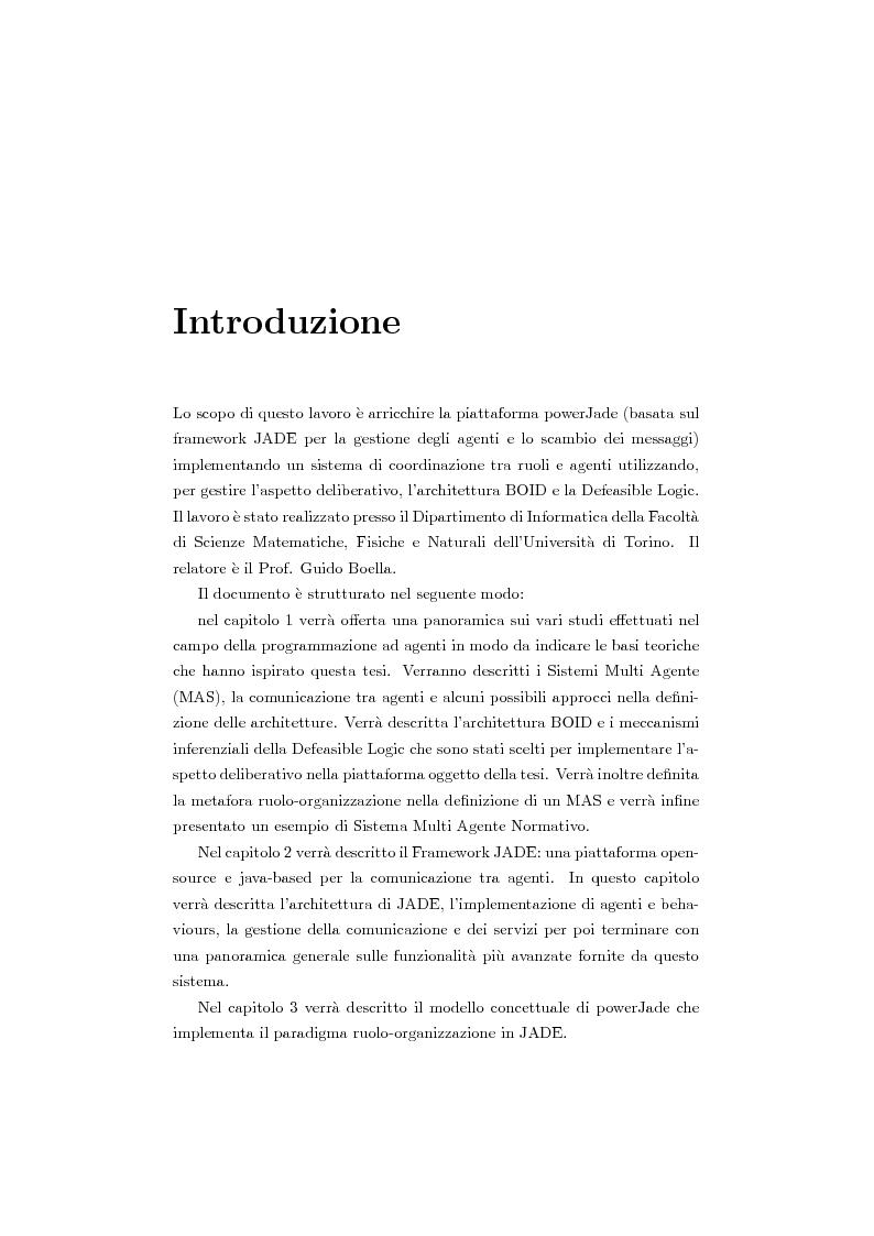 Anteprima della tesi: Organizzazione e ruoli in JADE: architettura BOID per la coordinazione, Pagina 1