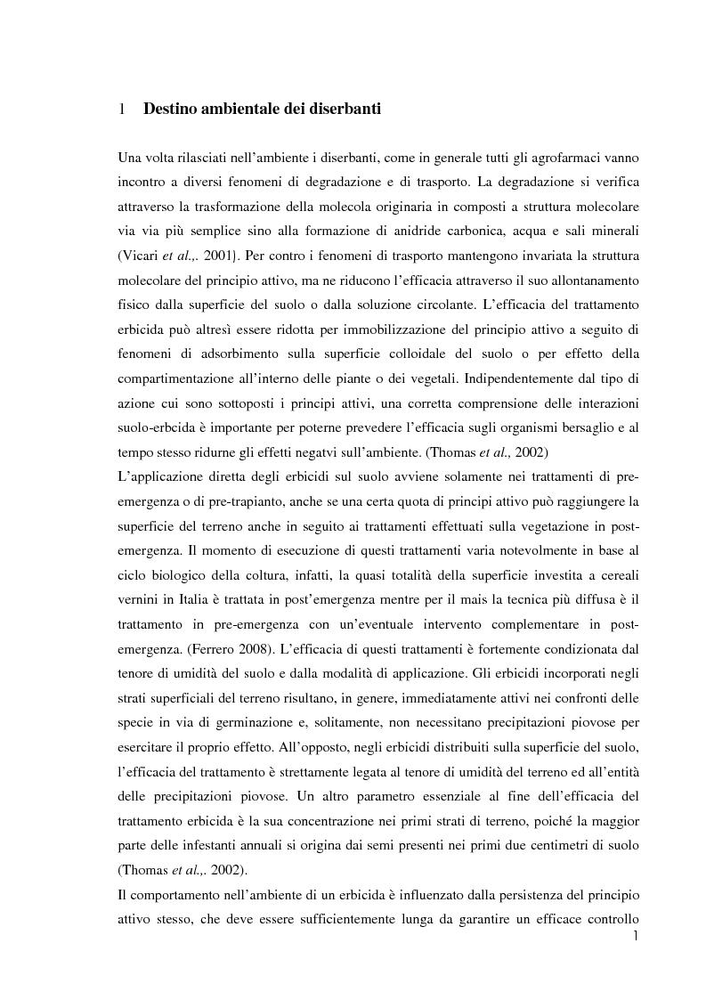 Anteprima della tesi: Comportamento ambientale dei diserbanti utilizzati in risaia, Pagina 1