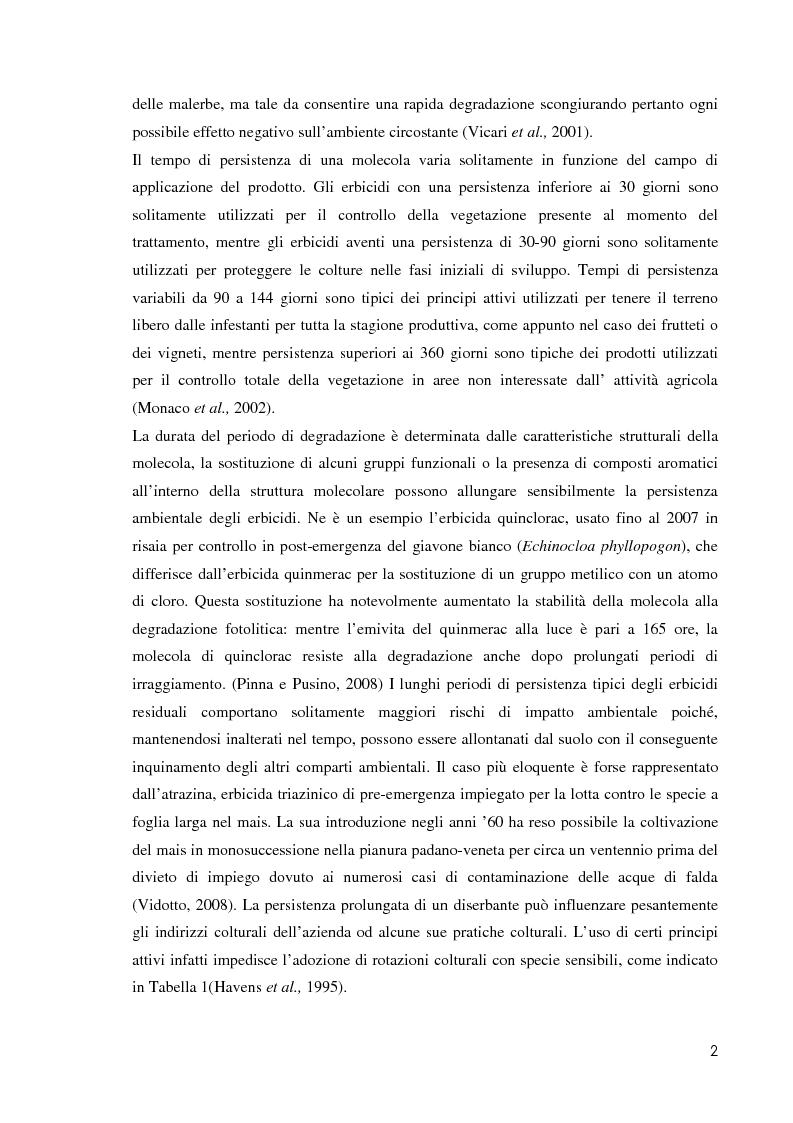 Anteprima della tesi: Comportamento ambientale dei diserbanti utilizzati in risaia, Pagina 2