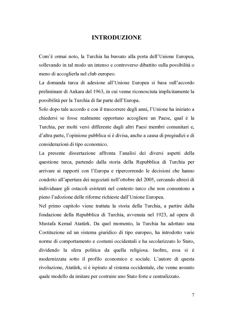 Anteprima della tesi: La Turchia e l'Europa, Pagina 1