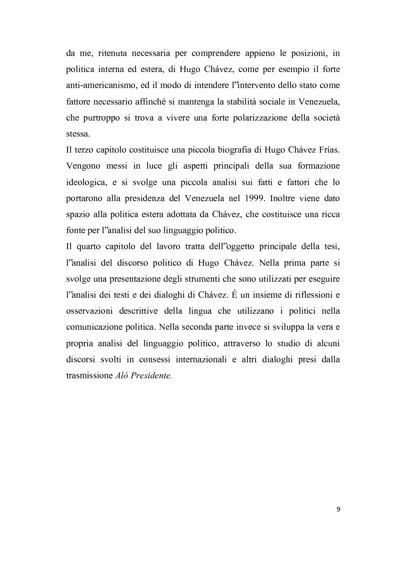Anteprima della tesi: Analisi del discorso politico e dell'uso della cortesia e della scortesia nel discorso politico di Hugo Chavez Frias, Pagina 3
