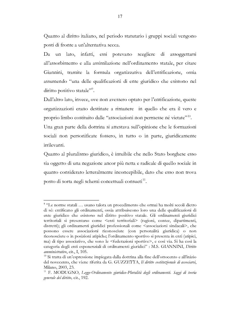 Anteprima della tesi: Ordinamento sportivo ed ordinamento statale: spunti critici sulle possibili forme di interconnessione, Pagina 12