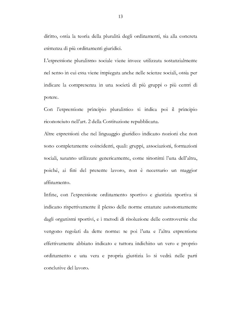 Anteprima della tesi: Ordinamento sportivo ed ordinamento statale: spunti critici sulle possibili forme di interconnessione, Pagina 8