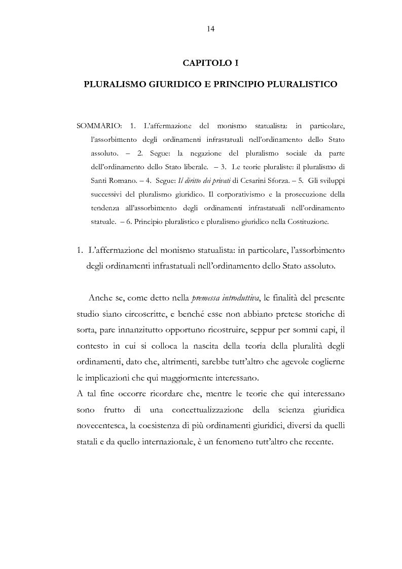 Anteprima della tesi: Ordinamento sportivo ed ordinamento statale: spunti critici sulle possibili forme di interconnessione, Pagina 9