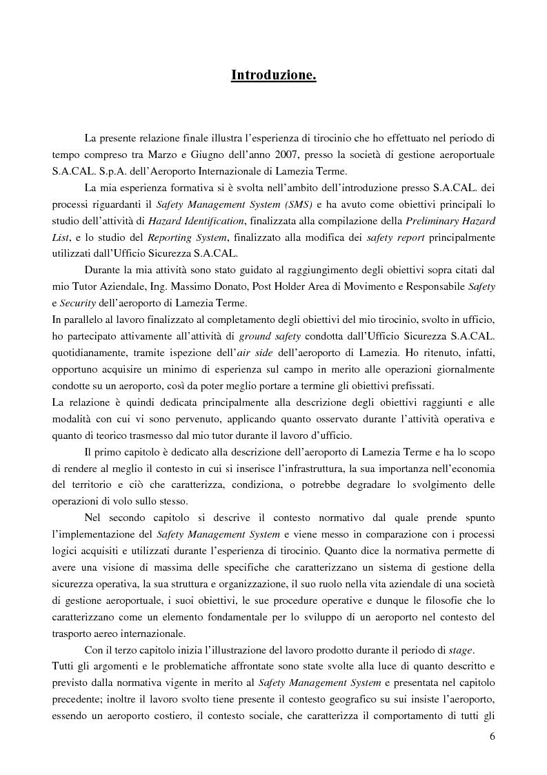 Anteprima della tesi: Le basi di un Safety Management System sull'Aeroporto Internazionale di Lamezia Terme, Pagina 1