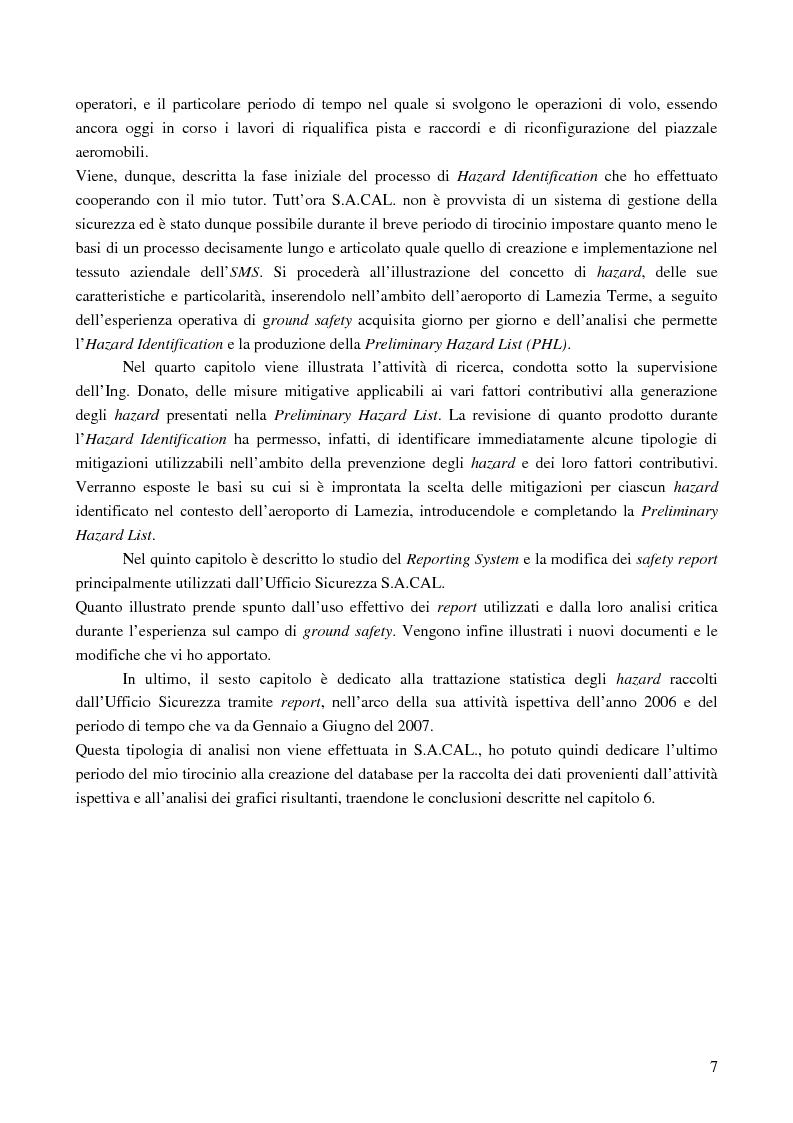 Anteprima della tesi: Le basi di un Safety Management System sull'Aeroporto Internazionale di Lamezia Terme, Pagina 2