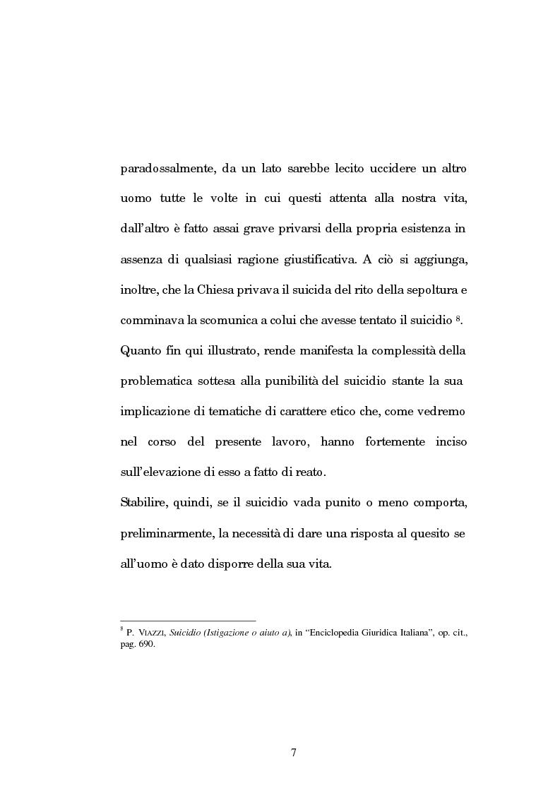 Anteprima della tesi: L'istigazione e l'aiuto al suicidio nella legislazione, nella dottrina e nella giurisprudenza post-unitarie, Pagina 4