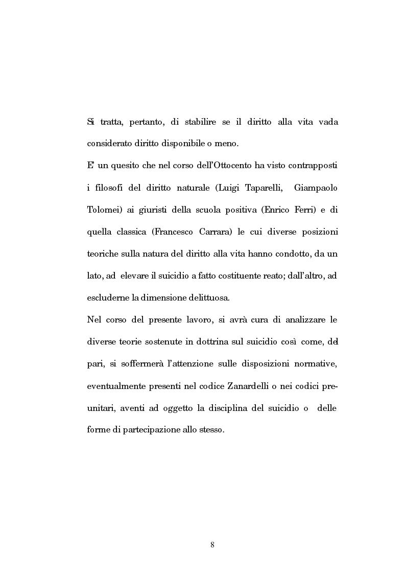 Anteprima della tesi: L'istigazione e l'aiuto al suicidio nella legislazione, nella dottrina e nella giurisprudenza post-unitarie, Pagina 5