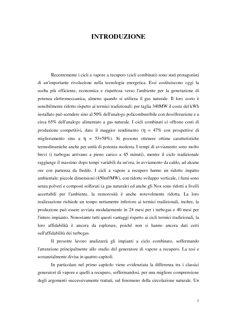 Anteprima della tesi: Strategie di controllo dei generatori di vapore in impianti a recupero, Pagina 1
