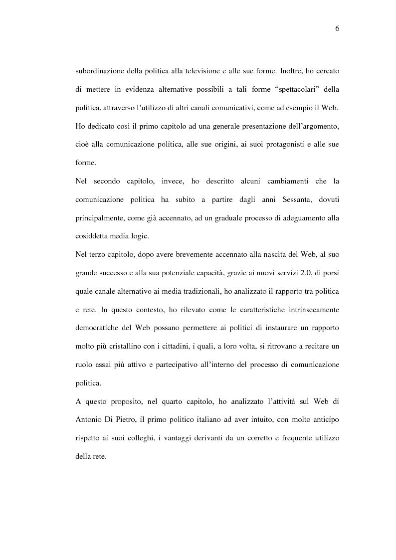 Anteprima della tesi: La comunicazione politica tra old e new media. Un caso di studio: Antonio Di Pietro online., Pagina 3