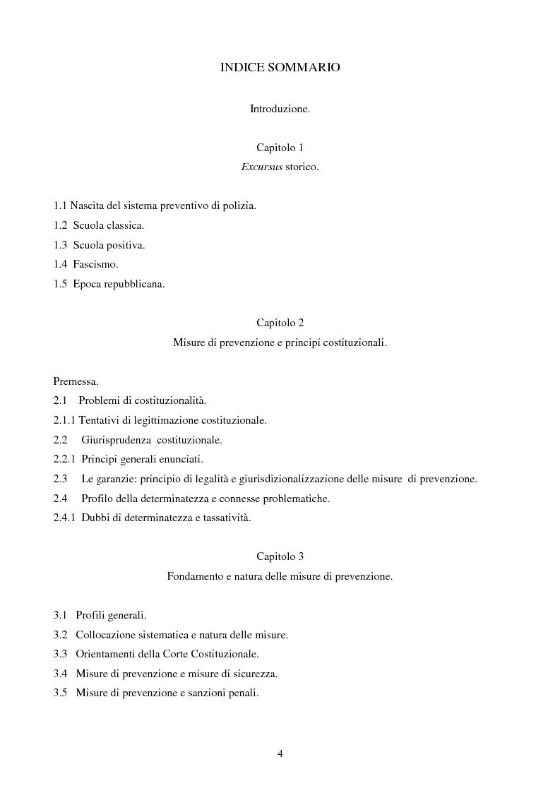 Indice della tesi: Le misure di prevenzione: microsistema giuridico penale connotato da perenne emergenza, Pagina 1