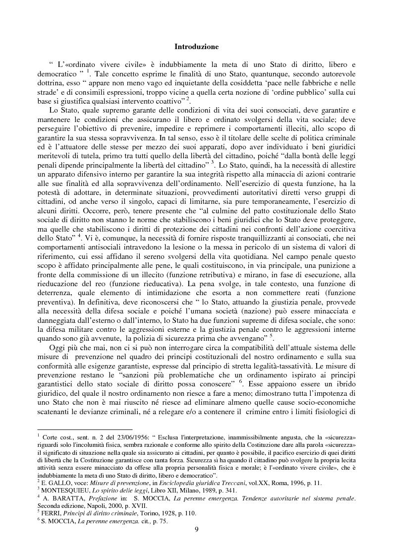 Anteprima della tesi: Le misure di prevenzione: microsistema giuridico penale connotato da perenne emergenza, Pagina 1