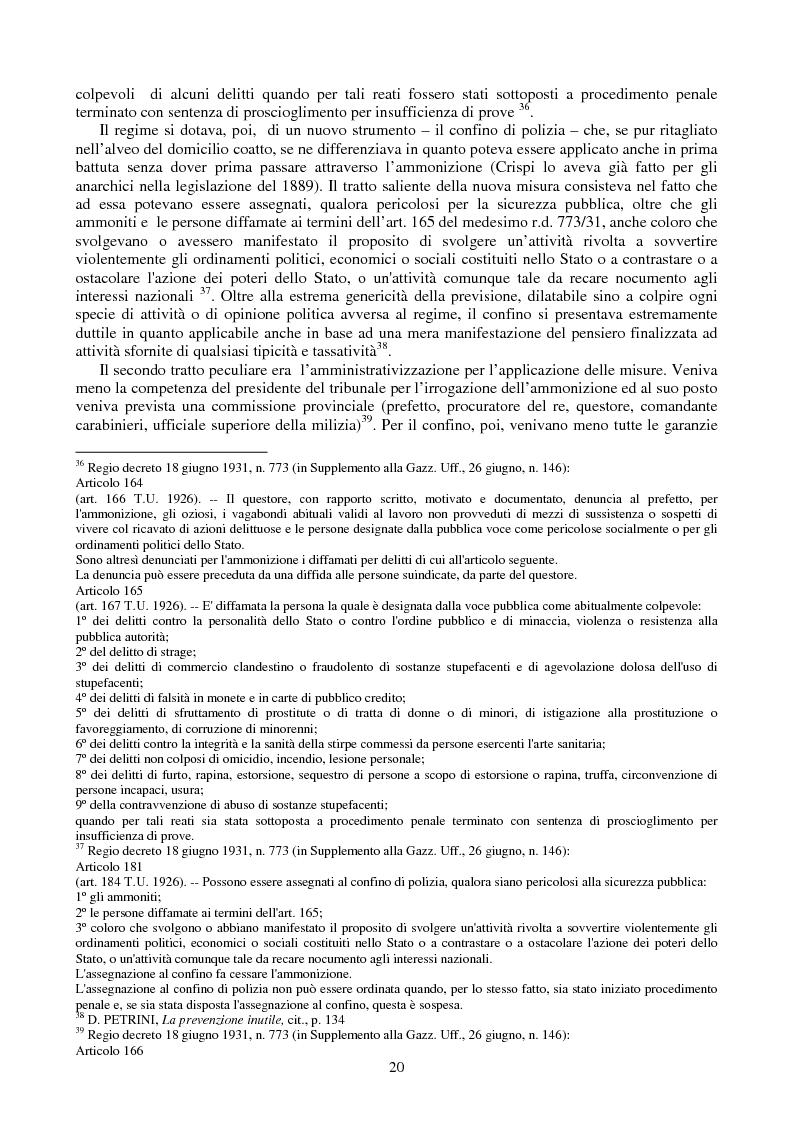 Anteprima della tesi: Le misure di prevenzione: microsistema giuridico penale connotato da perenne emergenza, Pagina 12