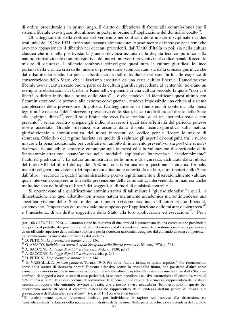 Anteprima della tesi: Le misure di prevenzione: microsistema giuridico penale connotato da perenne emergenza, Pagina 13