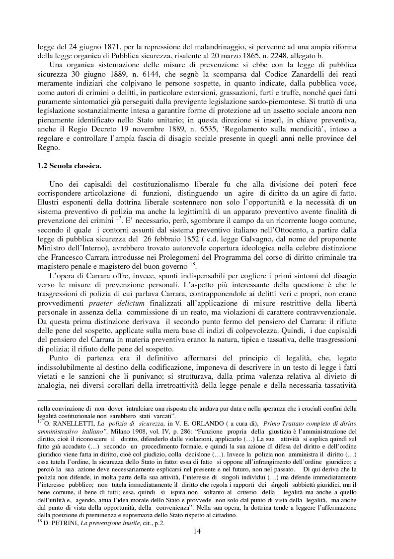 Anteprima della tesi: Le misure di prevenzione: microsistema giuridico penale connotato da perenne emergenza, Pagina 6